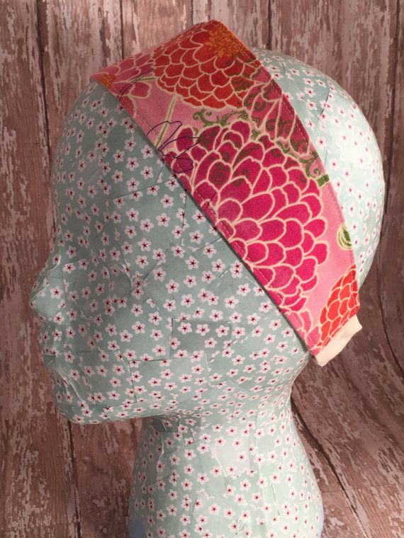 Fabric headband Dahlias on pink adult woman's size by MurphyMadeIt