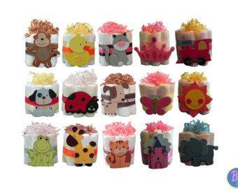 Mini Diaper Cakes - Unique Baby Shower Gift, centrotavola, favore giungla carino principessa animali nautico ragazzo ragazza neutro su ordinazione