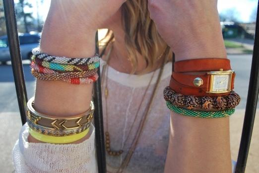 arm candy: la mer watch, sisa bracelets, house of harlow, town & reese