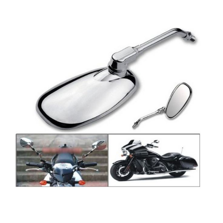A Pair Universal Chrome 10mm Classic Motorcycle Bikes Scooter Rear View Mirrors
