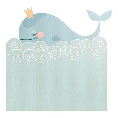 Nice Little Things - Testiera Whale in legno di pino  blu chiaro e bianco  115 x 5 x 105 cm