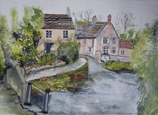 Lackock, Wiltshire watercolour, with a little salt, added to the ford