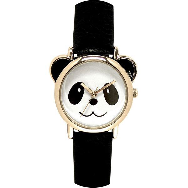Womens Panda Dial Black Strap Watch found on Polyvore featuring jewelry, watches, quartz watches, buckle watches, panda bear jewelry, panda jewelry and buckle jewelry Top Jewelry...