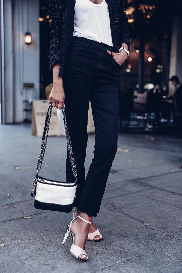 Vintage Chanel blazer, Chanel pearl sandals, Chanel Gabrielle bag