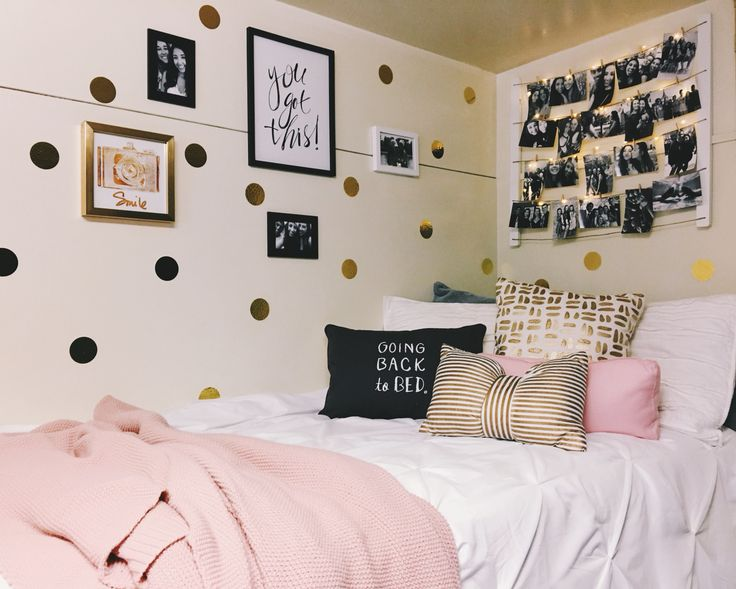 Dorm Room white pink gold black grey