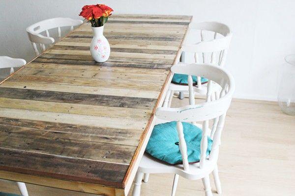 Jolie table pour manger fabrication DIY avec des palettes en bois  http://www.homelisty.com/table-en-palette/