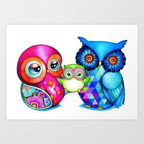 Gufo arte, mamma papà bambino, gufo famiglia - uccello colorato gufo Wall Art - illustrazione stampa di Annya Kai
