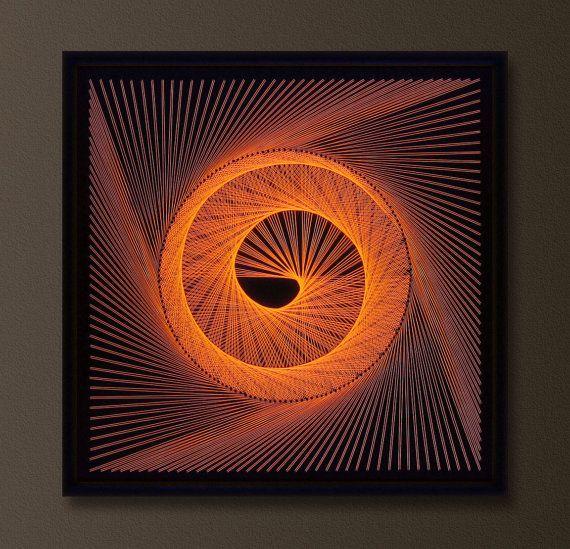 UV Wall Art in Orange Modern 3d String Art by FeniksArtDeco