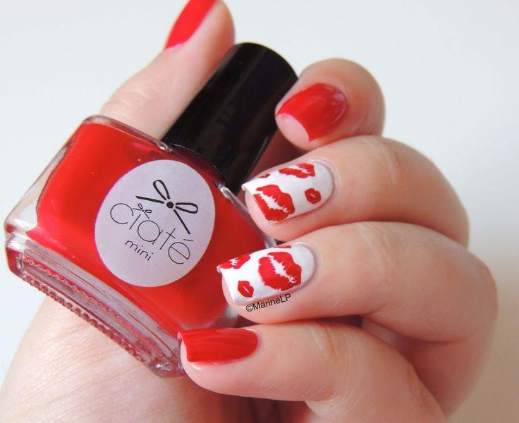Nailstorming - Bisous Bisous - World Kiss Day mani - journée internationale du baiser - stamping - ciaté boudoir - Moyou Hipster 08 - kiss nails - lips nails
