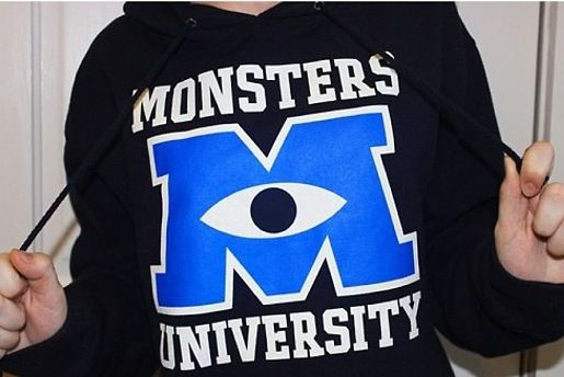 "I WANT IT. I saw a similar one on polyvore but it wasn't a hoodie. It said ""monsters university XXL"" like a sweatshirt you'd get at a college bookstore."