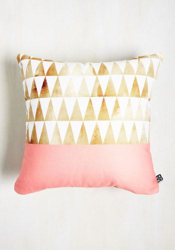 Again and again, you preach the importance of this triangle-printed pillow to your friends. You assert that this white, gold, and pink cushion - designed by Georgiana Paraschiv for DENY - boasts mood-boosting allure, and once your pals see its wondrous aesthetic, they'll rush to snag one for themselves!