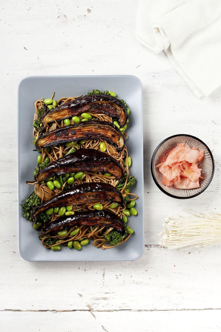 Japanese Salad with Miso-Roasted Eggplant, Edamame, and Broccolini