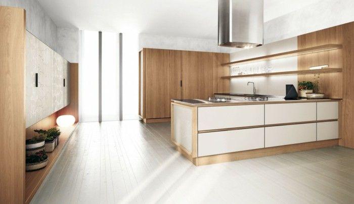 holzküche schöne kombination von holzopzik und weiße oberflächen - led lichtleiste küche