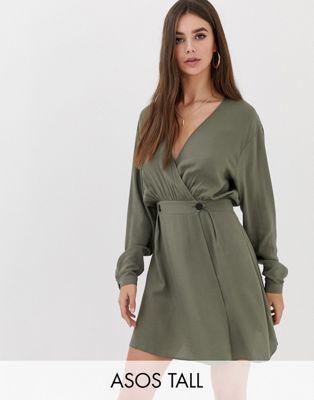 25fd748360af4 DESIGN Tall casual wrap mini dress in 2019   Stage & Video Wardrobe ...