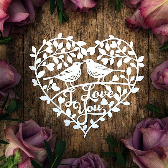 Papercut Template Floral Heart Wreath 'I Love You'