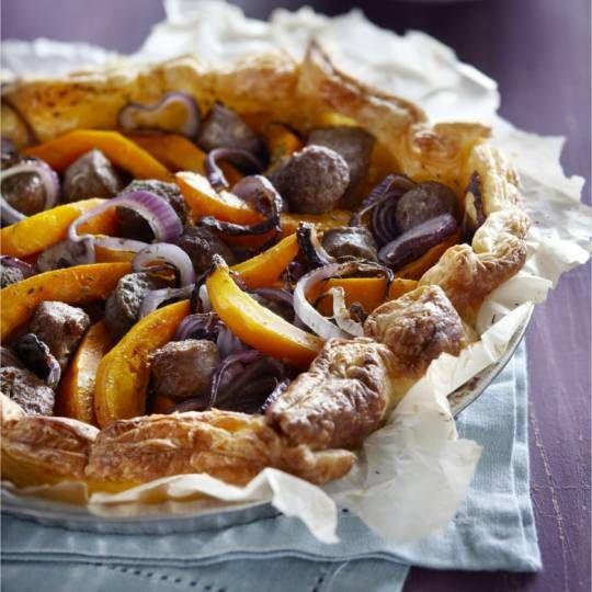 Recept - Hartige taart met worst, ui en pompoen - Boodschappenmagazine