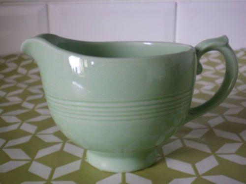 Retro 40s green beryl woods ware milk jug ...farmhouse teaset kitchenalia