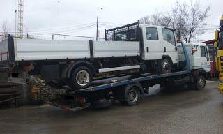 Tractari-Auto-Constanta.ro: Transbordare ISUZU NPR defect pe pe MAN pe trailer...