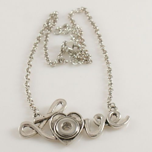 Chain Necklace Silver Tone LOVE word Fit Snap Jewels 1pce