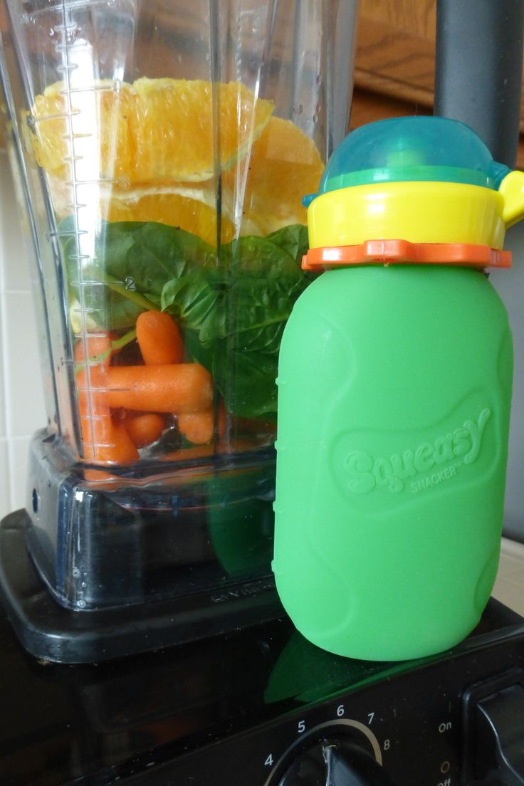 Orange You Delicious!! (puree, smoothie) My kids say it is like applesauce, but orange. What you need: Squeasy Snacker reusable food pouch, blender, 1 cup carrots, 1 cup spinach, 2 large oranges (cold or room temperature) Fills two 6 ounce pouches with maybe a little extra!!!