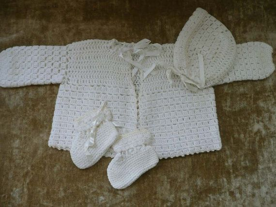 Pretty White Vintage Hand Crocheted Baby Sweater by MossyCottage