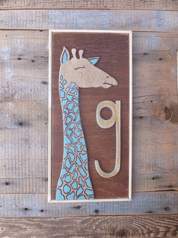 """G"" is for Giraffe - custom initial salvage wood wall hangings"
