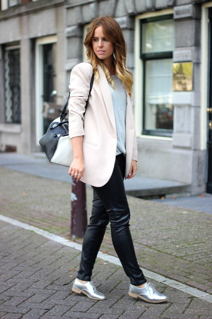 25 Ways to Wear Metallic Flats - soft pink blazer, leather pants + metallic oxford shoes | StyleCaster