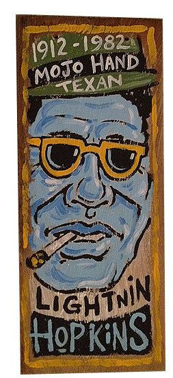 blues folk art painting of Lightnin Hopkins by by MojohandBlues; Etsy