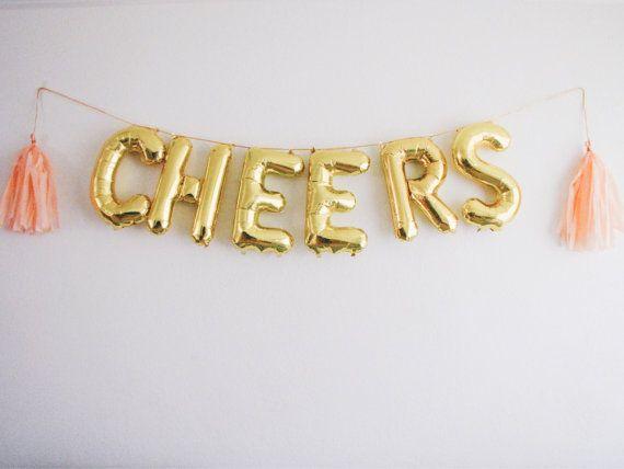 CHEERS letter balloons gold foil mylar letter balloons - banner with tassels kit