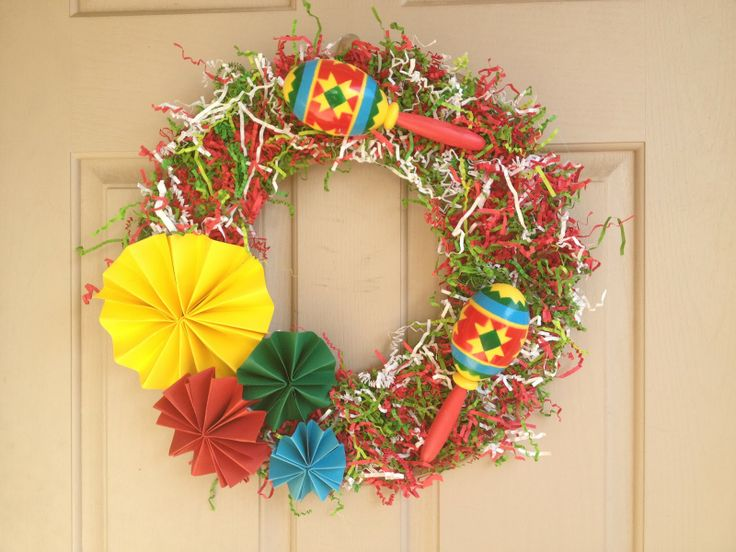 Mexican Christmas Party Ideas Part - 48: The Busy Broad: Cinco De Mayo Wreath // Diy Decor