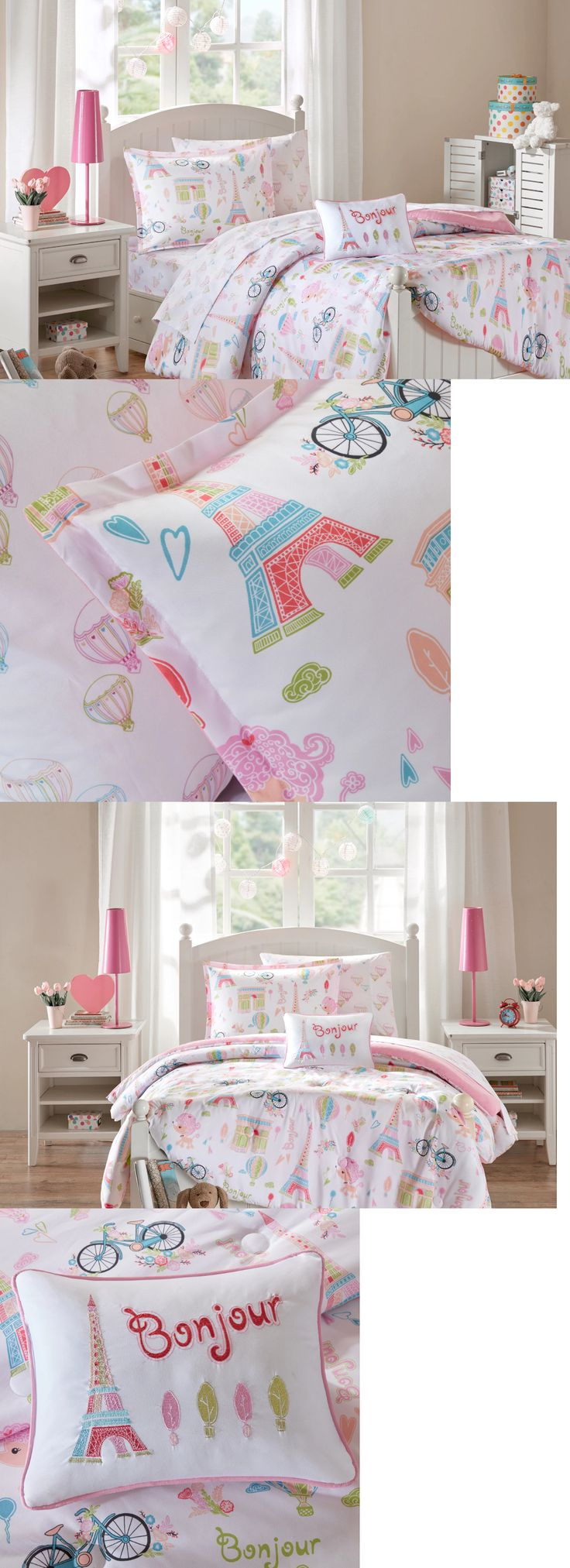 Kids Bedding: Paris Eiffel Tower Poodle Kids Full Bed In A Bag Girls Comforter Set Pink White -> BUY IT NOW ONLY: $84.97 on eBay!
