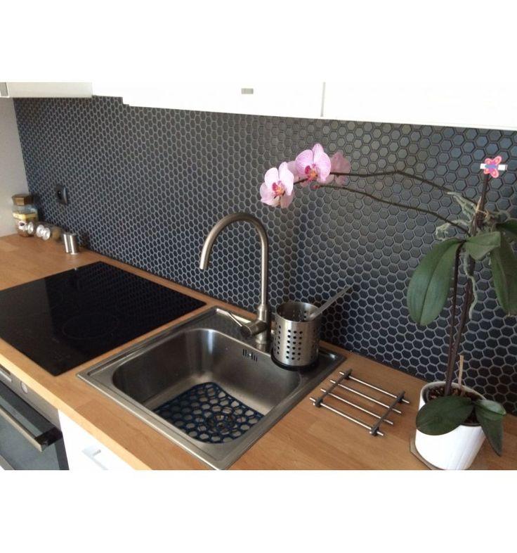 Hexagon mały, czarny, matowy-płytki ceramiczne/mozaika|sklep RawDecor.pl