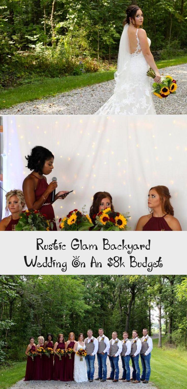 Rustic Glam Backyard Wedding | The Budget Savvy Bride | Wine bridesmaid dresses from David's Bridal | burgundy wedding | sunflower bridal bouquet #OrangeBridesmaidDresses #BridesmaidDressesStyles #RusticBridesmaidDresses #BridesmaidDressesCoral #WeddingBridesmaidDresses