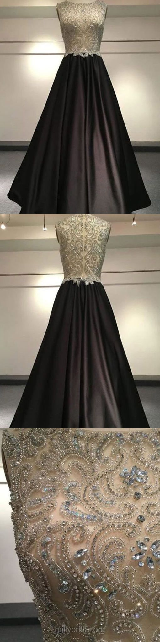 Black Prom Dresses Long, Cheap Prom Dresses For Teens 2018, Princess Evening Party Dresses Scoop Neck, Satin Tulle Formal Pageant Dresses Beading