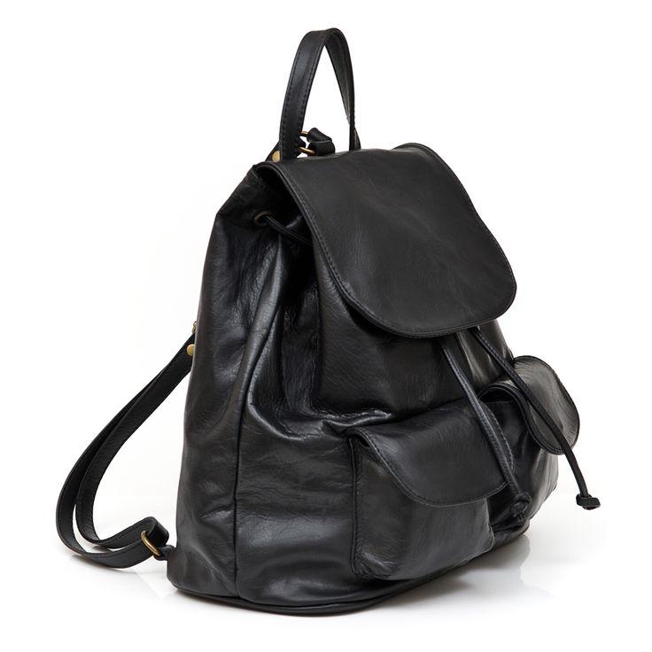 Ash black Italian leather unisex backpack  FREE SHIPPING WITHIN AUSTRALIA www.marlafiji.com