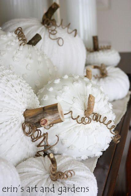 Vintage chenille blanket pumpkins. Adorable!