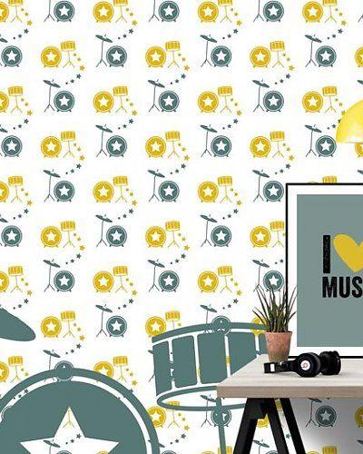 Behang muziek met drumstel geel groen | Wallpaper music drums | Designed by Tinkle&Cherry | www.tinklecherry.nl