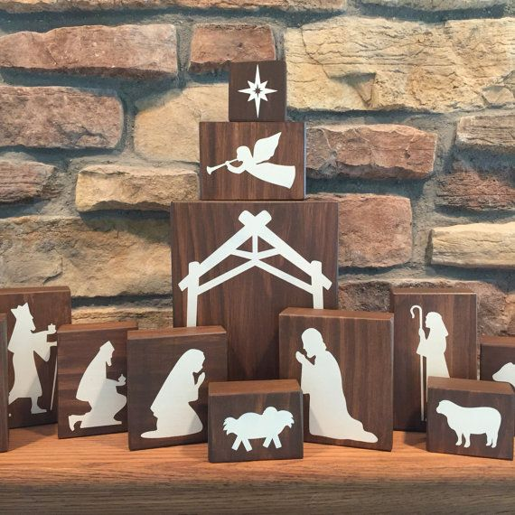 Wood Nativity Blocks Wood Nativity Set by HeartfeltByDonna More