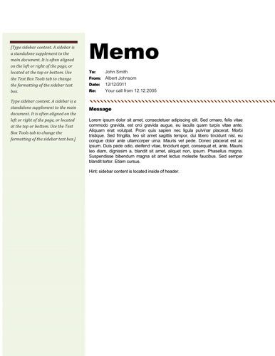 Brown sidebar Memorandum Templates in Word Pinterest Template - cash memo format in word