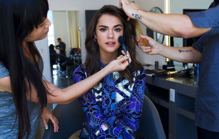 Maia Mitchell: Behind -The-Scenes getting work from hair and makeup.