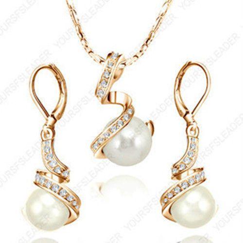 Мода свадебные кристалл жемчужное ожерелье / серьги пром гп серебряные украшения комплект оптовая продажа покрыло-золотые украшения серебряный крюк