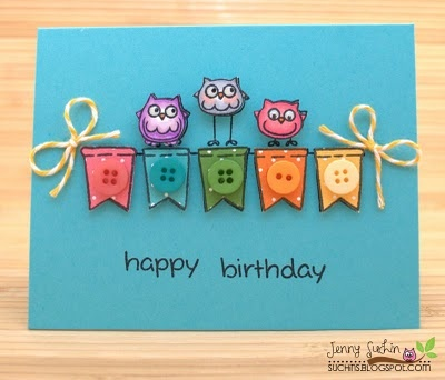 Very cute handmade cards on her blog!: Cards Ideas, Happy Birthday, Little Owl, Owl Cards, Handmade Cards, Birthday Cards, Cards Tags, Cards Inspiration, Buttons Cards