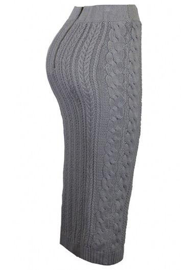 Grey Mid Waist Cable Knitting Skirt