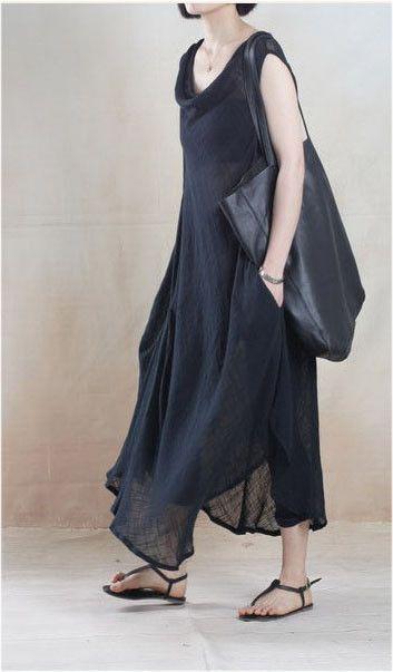 Linen Dress in Black