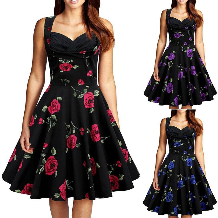 Womens Vintage Style 1950's Retro Floral Rockabilly Swing Evening Party Dress #RUIYIGE #50sRockabillyBallGown #Cocktail