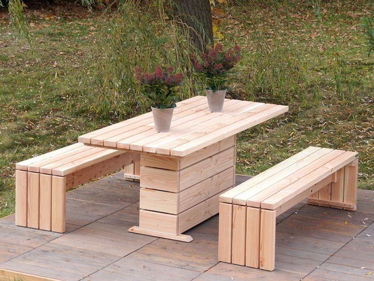 Gartenmöbel Set 2, wetterfestes Holz, Douglasie Natur