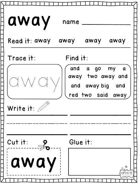 Ddc E E Bad C Cfd Sight Word Worksheets Summer Activities on kindergarten homework sheets