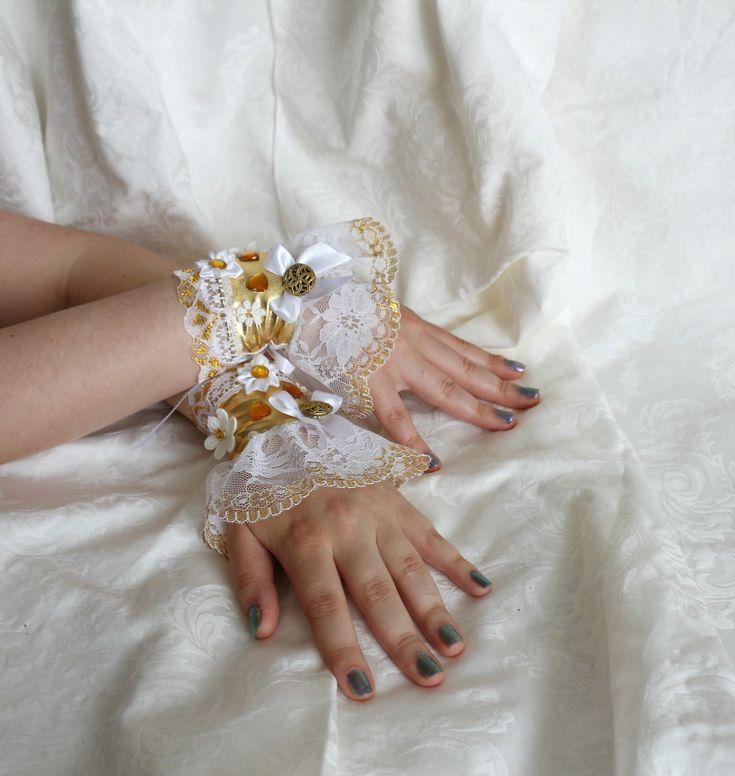 White-gold steampunk lolita wrist cuffs / bracelets / wrist wraps by AlicesLittleRabbit on Etsy