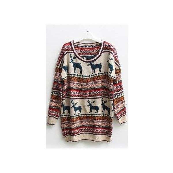 Nordic Stripes Print Oversized Sweater ($45) ❤ liked on Polyvore