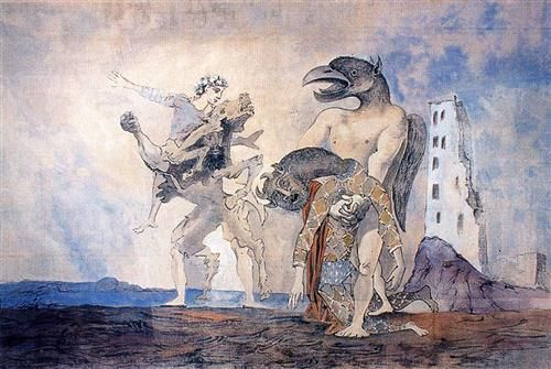 The Remains of Minotaur in a harlequin costume - Pablo Picasso  1936
